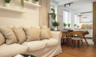 projekt salonu z kuchnia w wykonaniu Proste Wnetrze